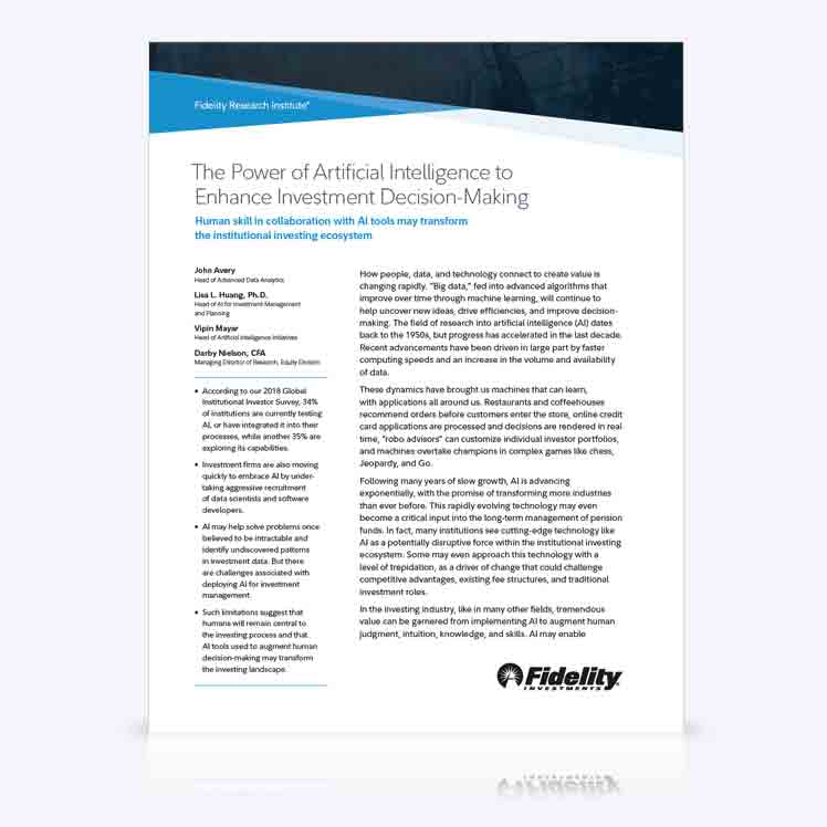 Artificial Intelligence, Defined | Fidelity Institutional